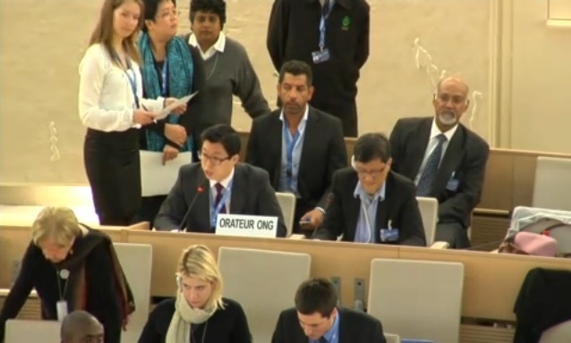 Delivering an oral statement at the United Nations Human Rights Council in Geneva, during the adoption of Malaysia's UPR report.